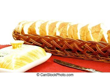 French bread in wicker basket