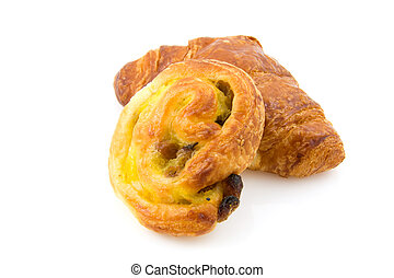 French bread over white background