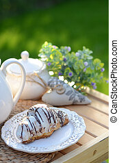 French breakfast or dessert with croissants, coffee