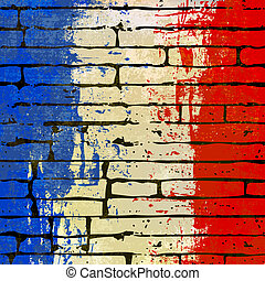 French Brick Wall Background - Grunged French Flag over a...
