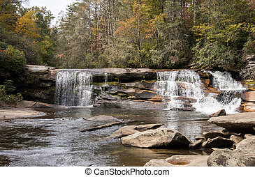 French Broad Falls in the Nantahala National Forest in...