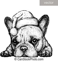 French bulldog, black and white engrave. Christmas hat. vector