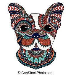 French bulldog - Colorful french bulldog with zentangle...