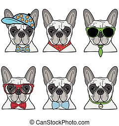 French bulldog icons - French bulldog set of 6 icons of vary...