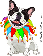 French bulldog wearing a colorful