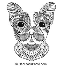 French bulldog zentangle styled with clean lines for...