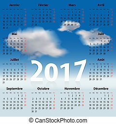 French Calendar for 2017 year with clouds