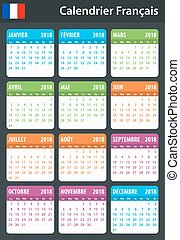 French Calendar for 2018. Scheduler, agenda or diary...