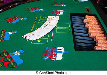 French cards for Texas hold 'em ion casino table