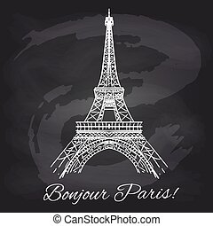 French chalkboard poster with Eiffel tower