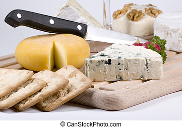 cheese and crackers - French cheese and crackers
