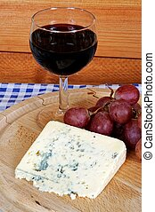 French cheese and red wine. - Bleu d'Auvergne cheese, red ...