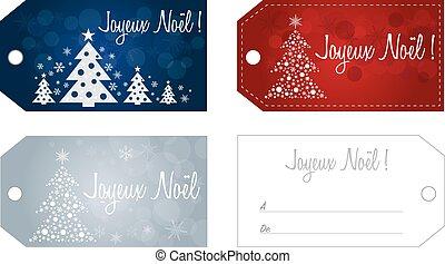 French Christmas gift tag set no shadow on the vector...