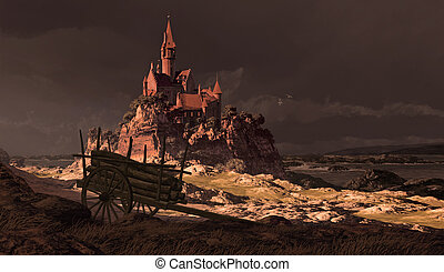 French Coast Castle - A storm tossed sea along a rocky...