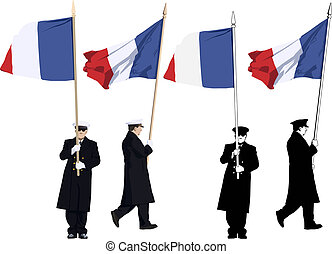 French color guard - Vector illustration of french guard of...