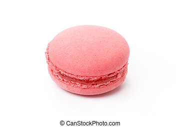 French colored macaroon cookie isolated on white