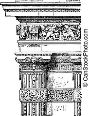 French column, vintage engraving.