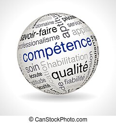 French competence theme sphere with keywords full vector