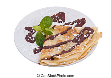 French Crepe with chocolate - A crepe is a type of very thin...