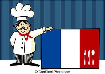 French cuisine chef illustration