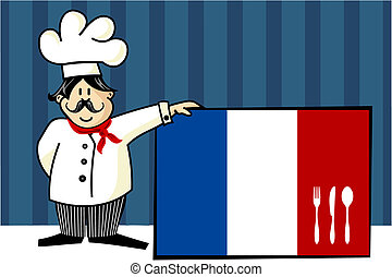 French cuisine chef illustration