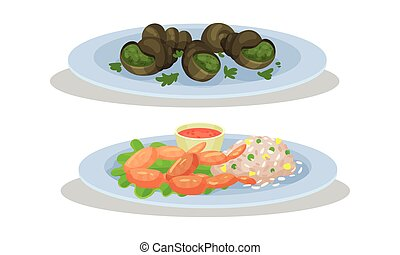 French Cuisine Dishes with Escargot Served on Plate Vector Set