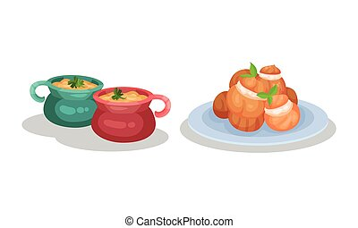 French Cuisine Dishes with Julienne in Pot and Profiterole Served on Plate Vector Set
