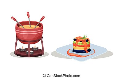 French Cuisine Dishes with Melted Cheese in Fondue and Ratatouille Served on Plate Vector Set