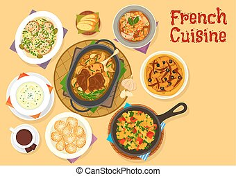 French cuisine famous dinner dishes icon design