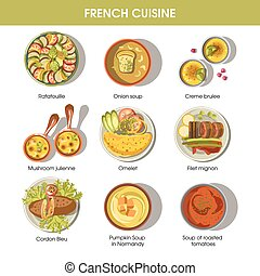 French cuisine food dishes for menu vector templates - ...