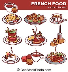 French cuisine food dishes for restaurant menu vector icons...