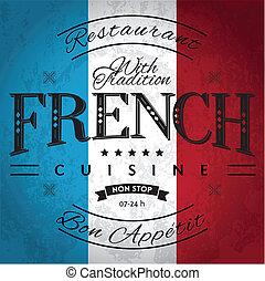 French Cuisine Label on Grunge Flag