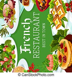 French cuisine, vector France meals, dishes poster - French ...