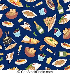 French cuisine vector illustration. Croissant, cheese...