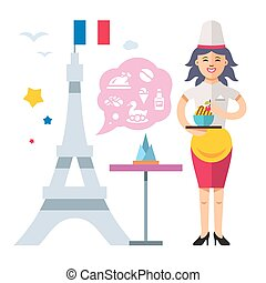 French cuisine. Woman chef. Flat style colorful Vector...