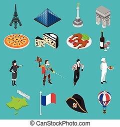 French sightseeing landmarks and national cuisine for tourists with eiffel tower and wine abstract isolated vector illustration
