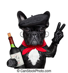 french bulldog with red wine, peace or victory fingers and french beret