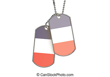 French Dog Tags, 3D rendering