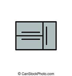 French door refrigerator, 2 doors fridge flat color line icon.