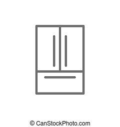French door refrigerator, 2 doors fridge line icon.