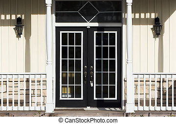 French Doors - Double French doors with porch, pale yellow...