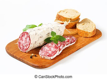 French dry sausage and crispy roll - French Saucisson Sec...