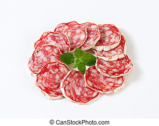 French dry sausage - Sliced French Saucisson Sec - studio...