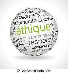 French ethics theme sphere with keywords full vector