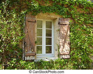 French Farmhouse Window & Shutters - Traditional French...
