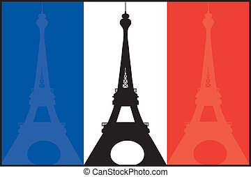 A French flag with silhouettes of the Eiffel Tower in each color