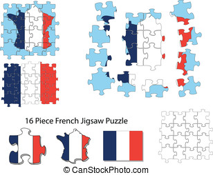 French flag and jigsaw puzzle - A sixteen piece jigsaw of...