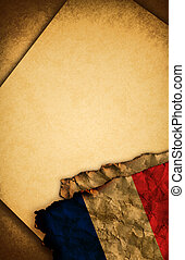 French flag and old paper - French flag and old document...