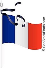 French flag black mourning ribbon