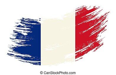 French flag grunge brush background. Vector illustration.